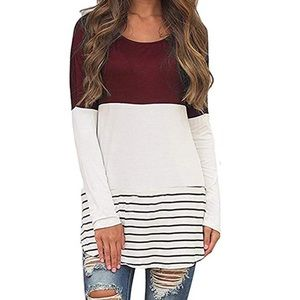 Back Lace Color Block Top Long Sleeve T